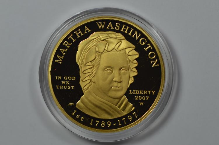 2007 First Spouse Series $10.00 Gold- Martha Washington. Gem Br. Proof