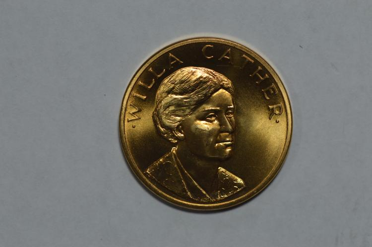 Gold 1981 U.S. Mint Art Medallion. Willa Cather (.5000 oz AGW). Gem BU