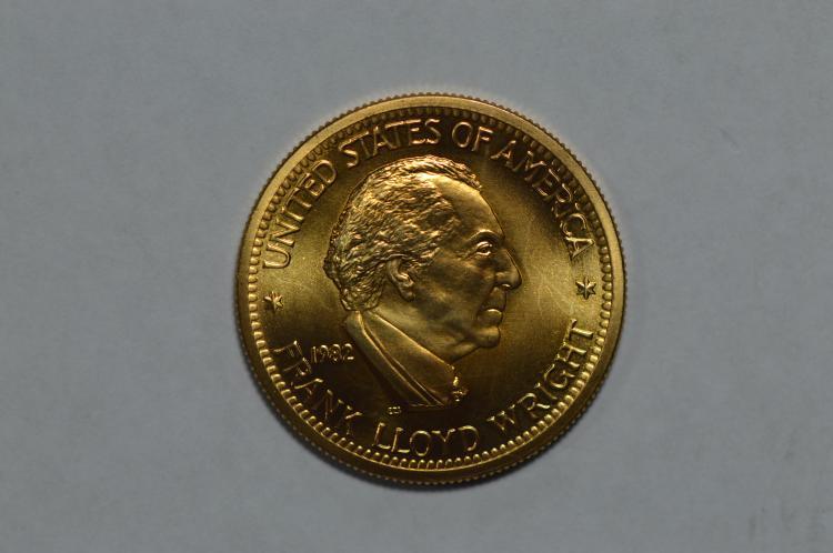 Gold 1982 U.S. Mint Art Medallion. Frank Lloyd Wright (.5000 oz AGW). Gem BU