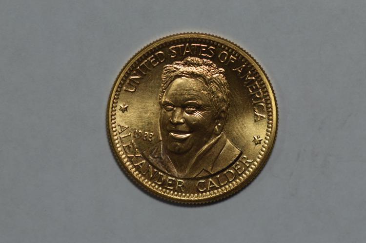 Gold 1983 U.S. Mint Art Medallion. Alexander Calder (.5000 oz AGW). Gem BU