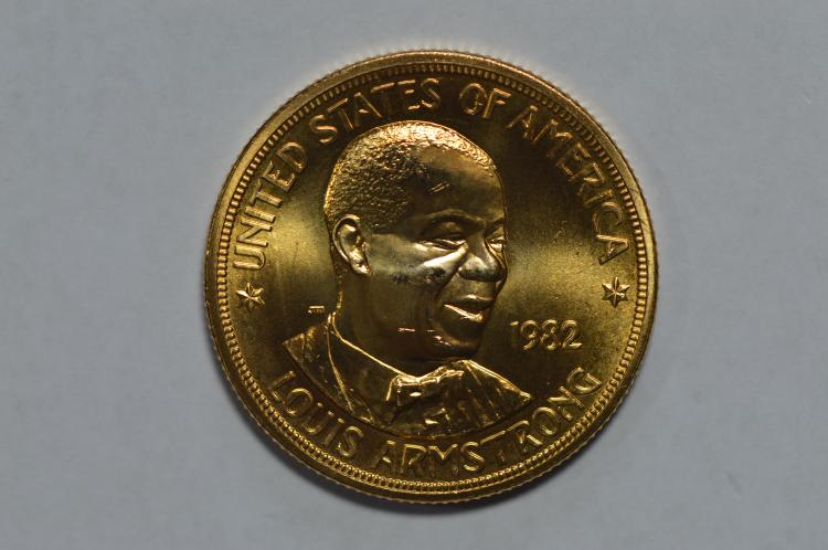 Gold 1982 U.S. Mint Art Medallion. Louis Armstrong (1.000 oz AGW). Gem BU