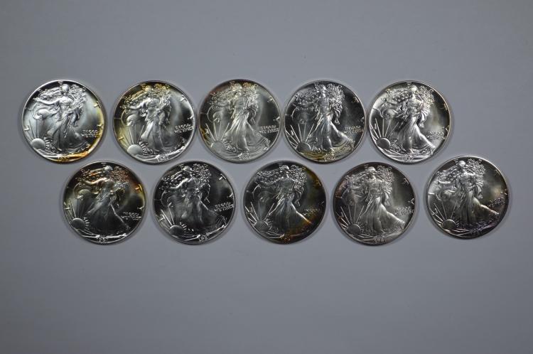A Half Roll of 1987 One Ounce Silver Eagles