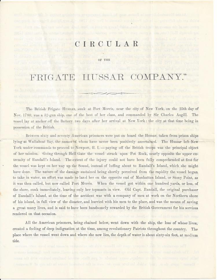 1866 Treasure Recovery Prospectus of Frigate Hussar Company. 9