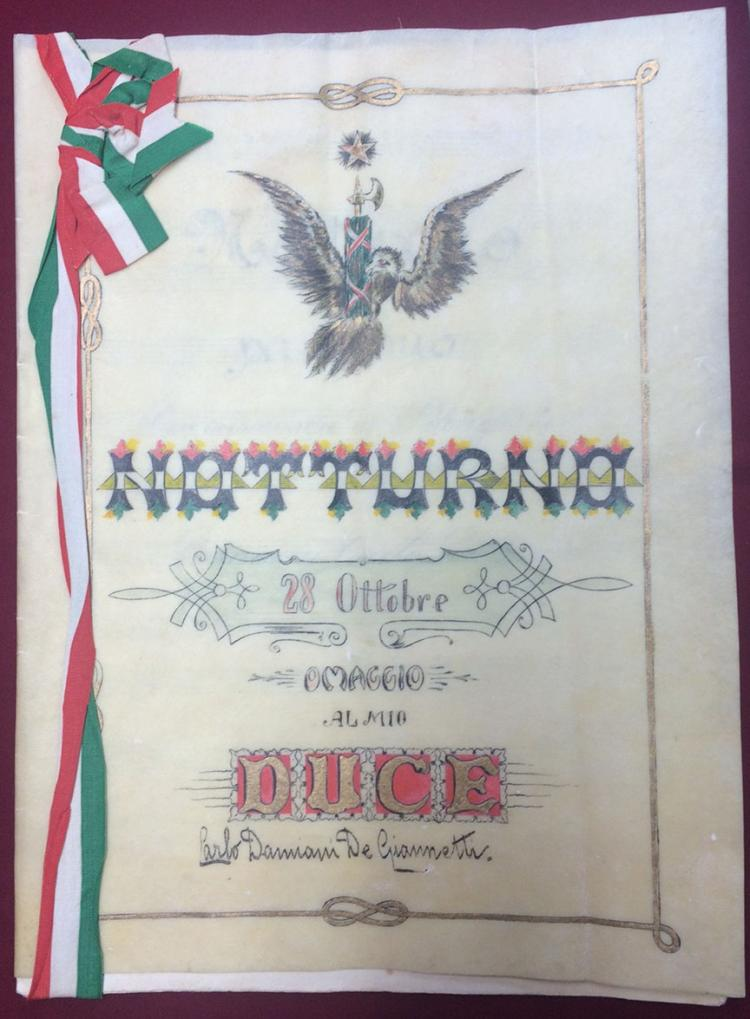 Italy. 1923 Music Score for a Nocturne in Homage to my Duce, Benito Mussolini