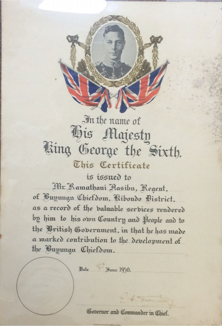 Tanganyika. Certificate for Marked Contribution to the Development of Bayaga Chiefdom. 1950