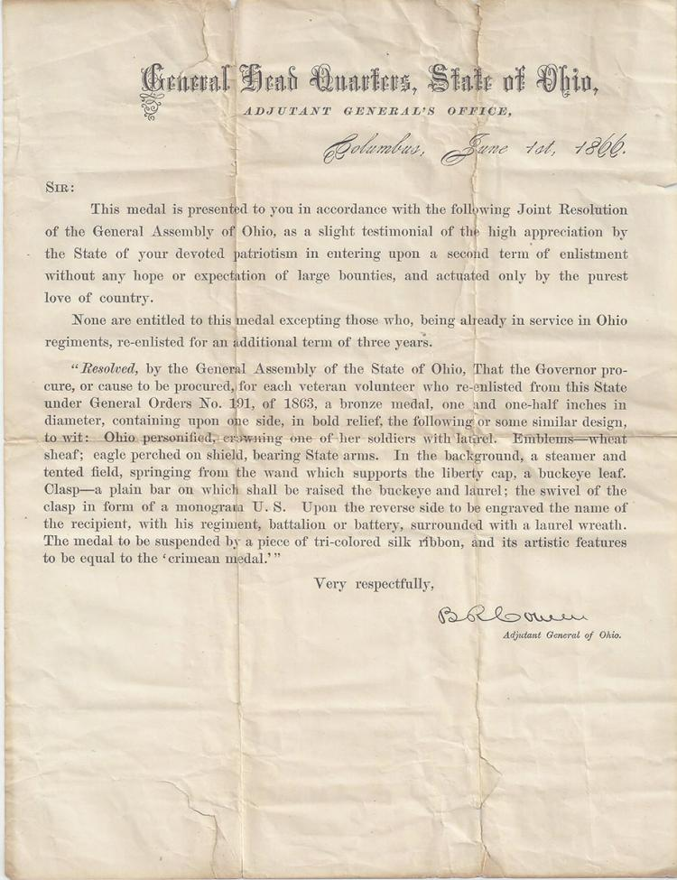 1866 State of Ohio Civil War Re-Enlistment Medal Certificate