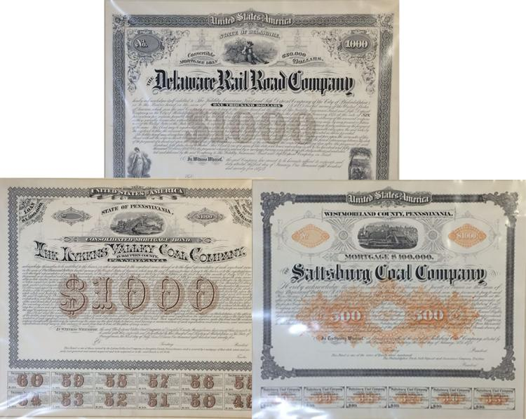 Trio of Unlisted Coal and Railroad Bonds, and a Civil War Newspaper