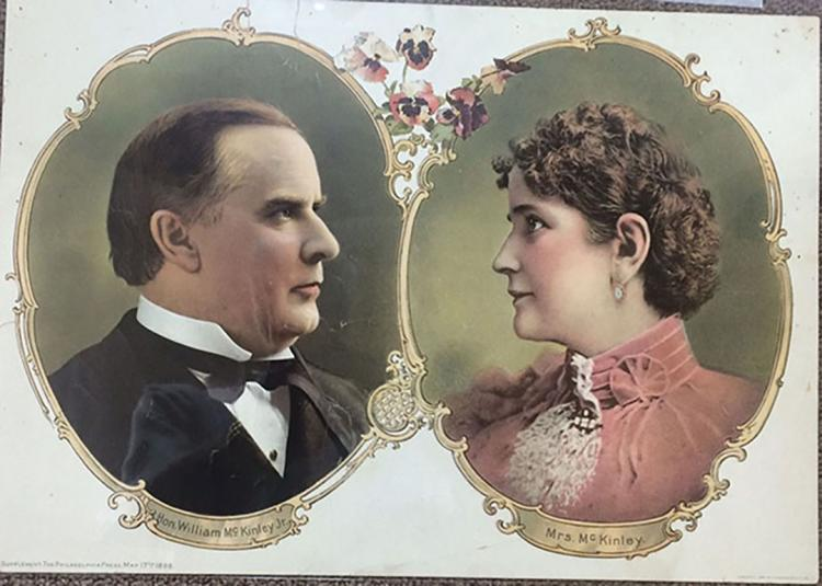 Colorful Original Lithographed Portrait of President McKinley and Mrs. McKinley. 1896.