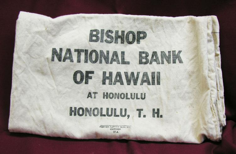 Bishop National Bank of Hawaii Bank Coin Bag. 1950.