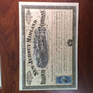 Stock Certificate. New Jersey Midland Railway (New Jersey) 1872, 10 shares, Tan Underprint