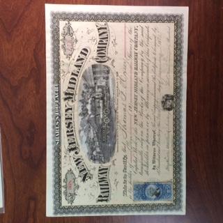 Stock Certificate. New Jersey Midland Railway (New Jersey) 1872, 10 shares, Tan Underprint