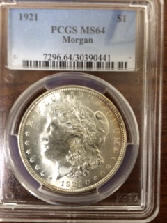 $1.00 Silver 1921 Morgan. PCGS MS64.