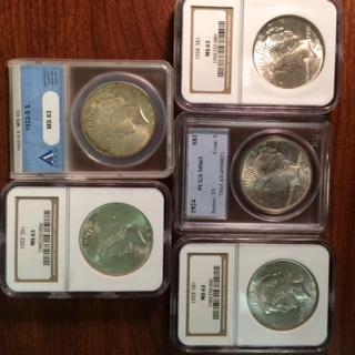 A Certified Peace Dollar Quintet