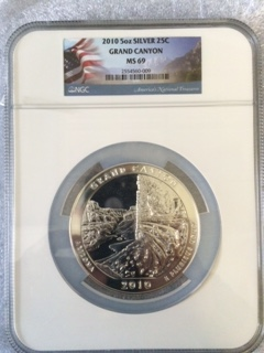 2010 America The Beautiful 5oz. Silver, Grand Canyon. NGC MS69