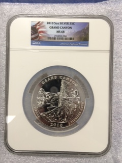 2010 America The Beautiful 5oz. Silver, Grand Canyon. NGC MS68.