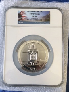 2010 America The Beautiful 5oz. Silver, Hot Springs. NGC MS69