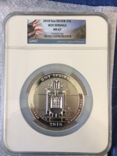 2010 America The Beautiful 5oz. Silver, Hot Springs. NGC MS67