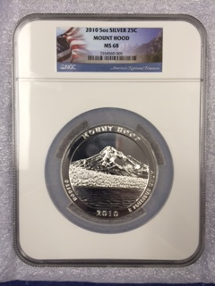 2010 America The Beautiful 5oz. Silver, Mount Hood. NGC MS 68