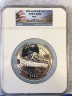 2010 America The Beautiful 5oz. Silver, Mount Hood. NGC MS67