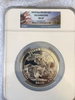 2010 America The Beautiful 5oz. Silver, Yellowstone. NGC MS69