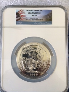 2010 America The Beautiful 5oz. Silver, Yellowstone. NGC MS68
