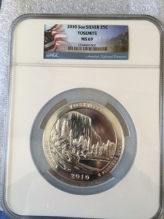 2010 America The Beautiful 5oz. Silver, Yosemite. NGC MS69