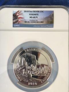 2010 America The Beautiful 5oz. Silver, Yosemite. NGC MS68PL.
