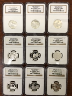 Nine NGC certified PF70 Deep Cameo Silver Statehood/Territorial Quarters
