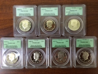 A septet of Old Holder PCGS certified proof Kennedy Half Dollars