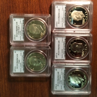 A Quintet of All Different PCGS Certified Copper-Nickel Proof Eisenhower Dollars