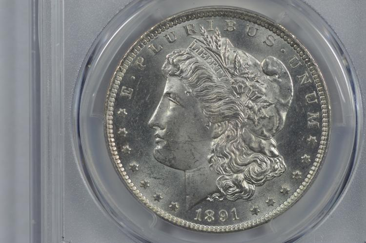 $1.00 Silver 1891-CC VAM-3 (Spitting Eagle) PCGS MS63+