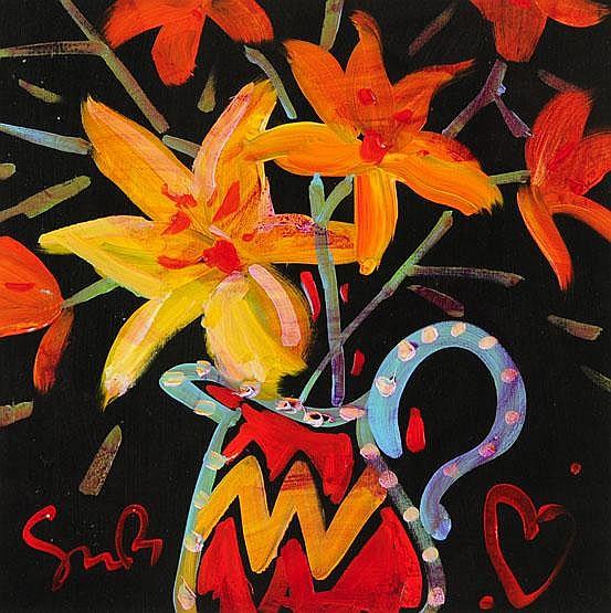 Simon Bull, an acrylic, still life of flowers in
