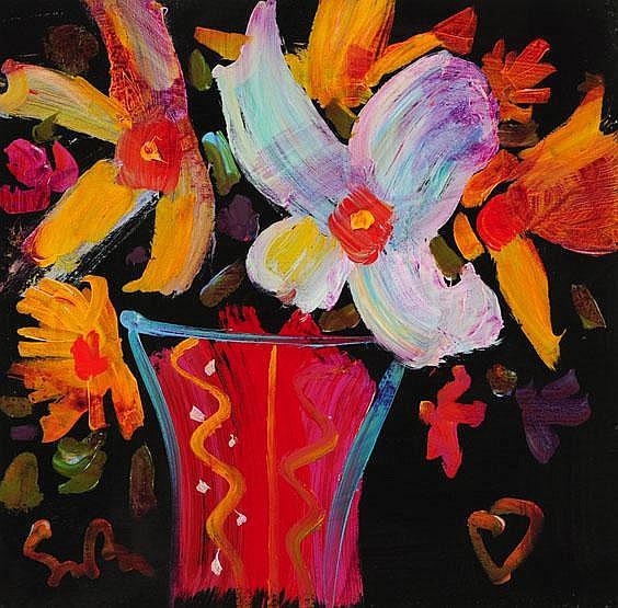 Simon Bull, an acrylic, still life of flower in a