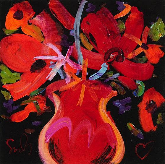 Simon Bull, an acrylic, still life of flower in
