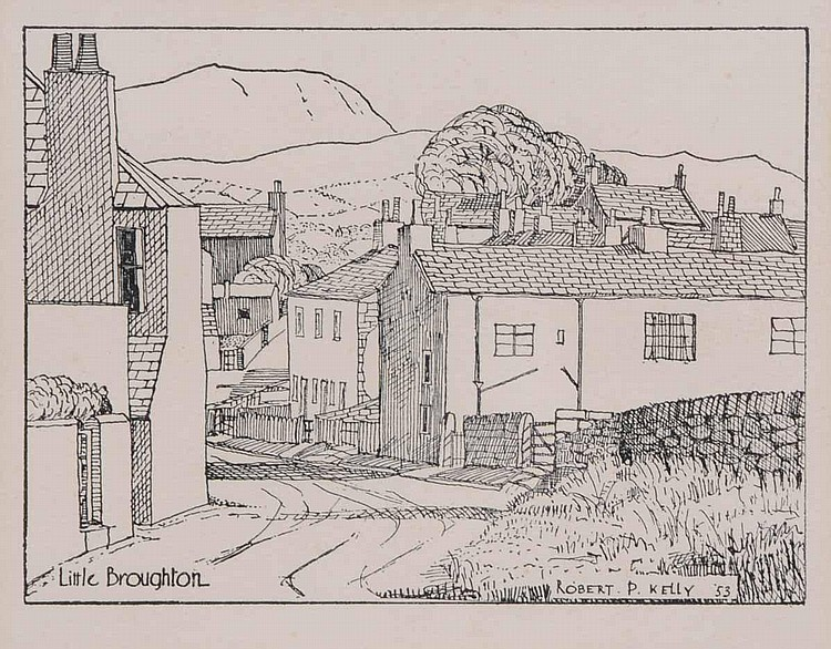 Percy Kelly, a pen and ink drawing,