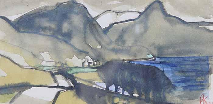 Percy Kelly (1916-1983), a watercolour, a lake and