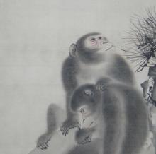 Mori Sosen Scroll Paintings of Monkeys