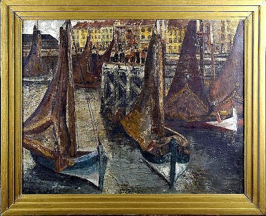 Taf Wallet (1902-2001). Vue de Port animé. Huile