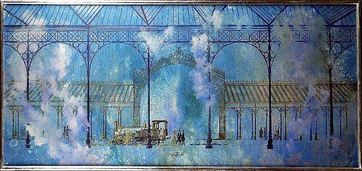 Gaston Bogaert (1918 - ). La Gare (daté 66). Huile