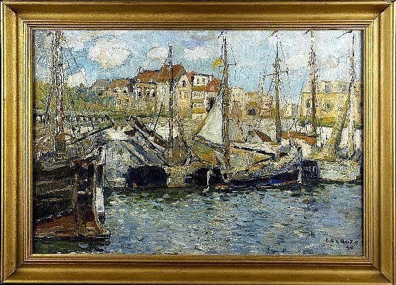 René Clarot (1882-1972). Bateau dans le Port (daté