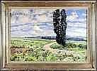 Henri Deglume (1865-1940). Paysage au Cyprès.