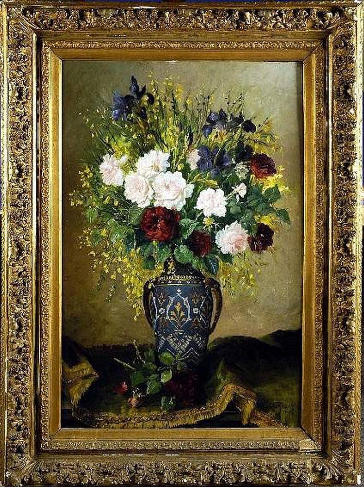 Jules Ragot (1835-1912). Vase garni de Fleurs..