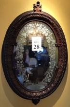 Vintage German Black Forest Wall Mirror Etched