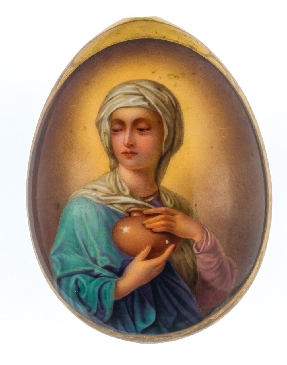 MONOGRAMED RUSSIAN PORCELAIN EASTER EGG SHOWING MARY MAGDALENE