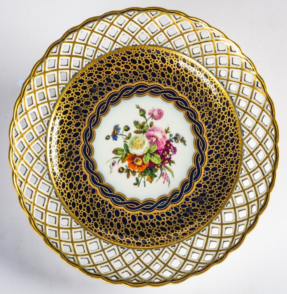A RUSSIAN PORCELAIN PLATE WITH FLOWERS