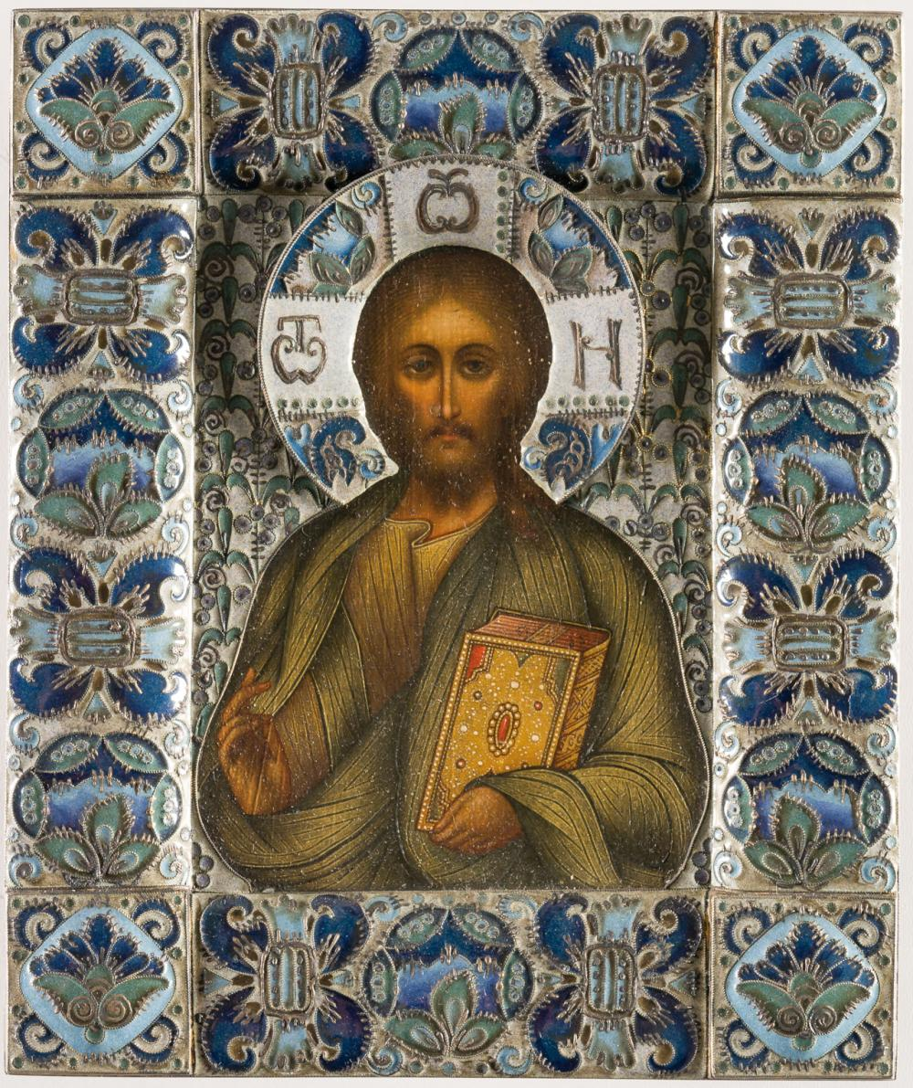 AN AMAZING RUSSIAN ICON WITH SILVEROKLAD AND CLOISONNÉ-ENAMEL SHOWING CHRIST PANTOKRATOR