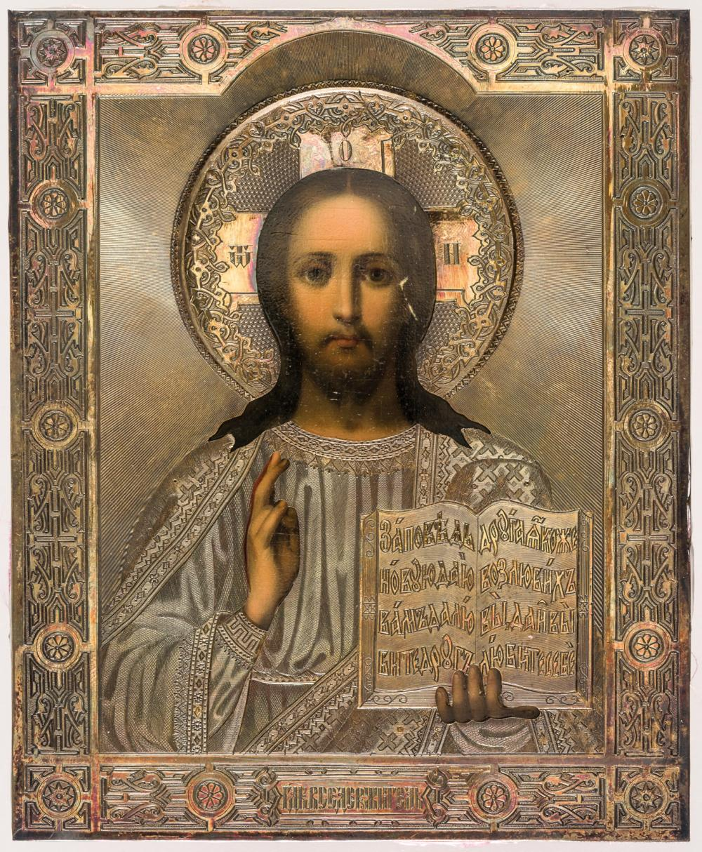 RUSSIAN ICON WITH SILVEROKLAD SHOWING CHRIST PANTOKRATOR