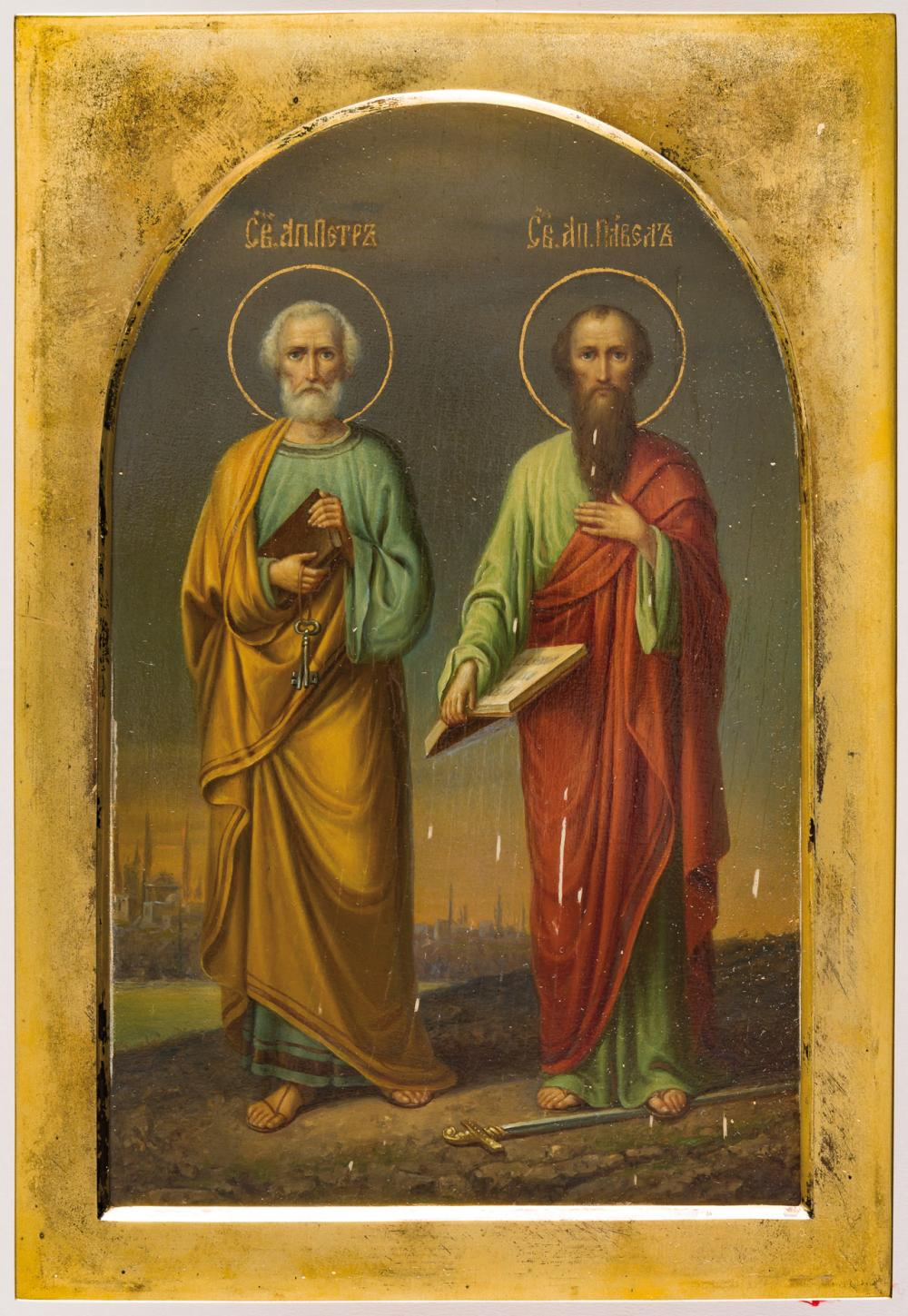 RUSSIAN ICON WITH SILVER BASMA SHOWING ST. PETER AND ST. PAUL