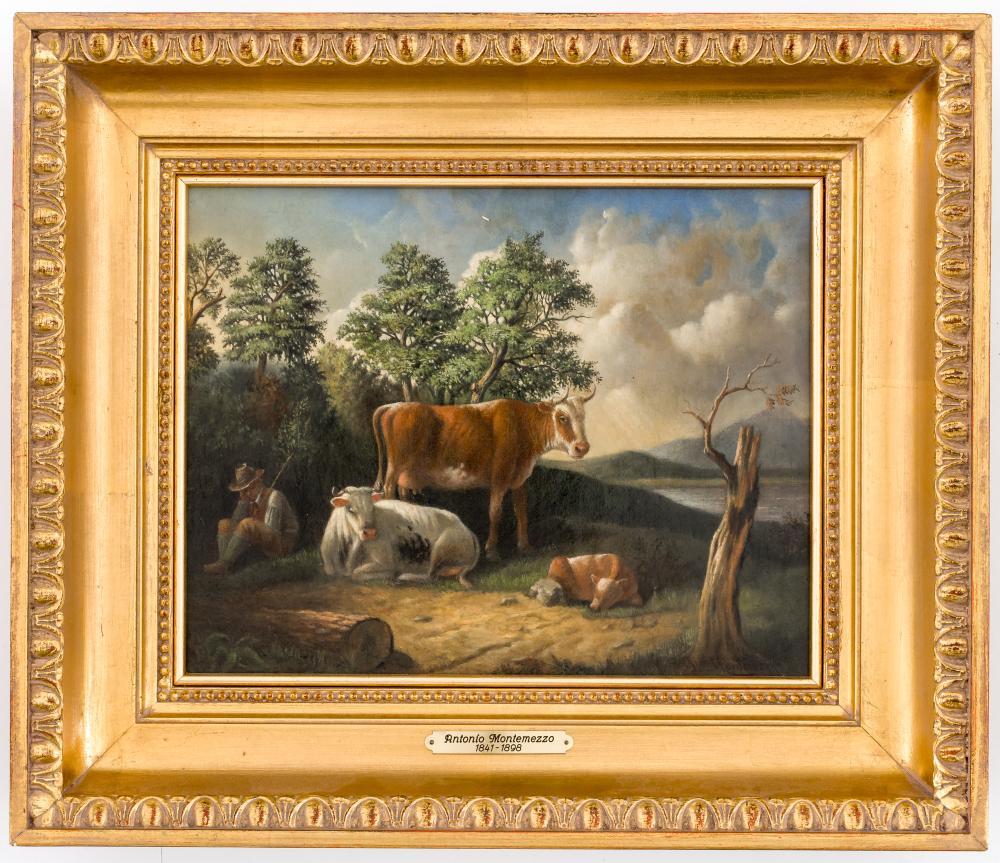 Antonio Montemezzo, Cows in the meadow