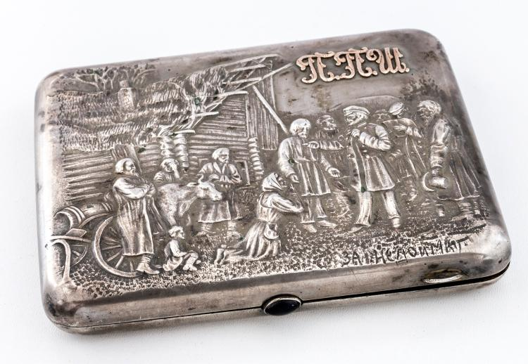 Cigarette-case with tax-collector-scene